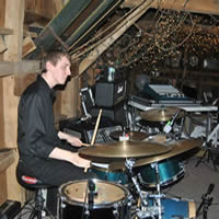 Drummer of Sojourn Rocs at wedding reception